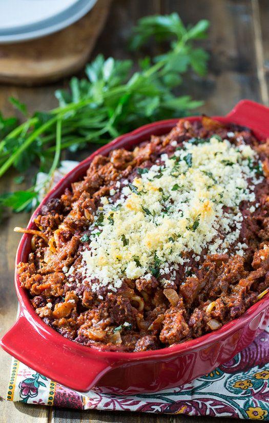 "<strong>Get the <a href=""http://spicysouthernkitchen.com/cream-cheese-spaghetti-casserole/"" target=""_blank"">Spaghetti Cassero"