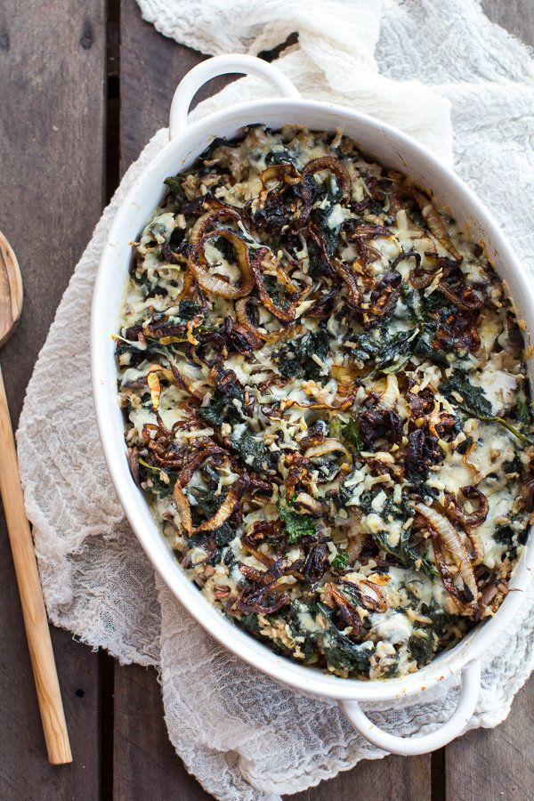 """<strong>Get the <a href=""""http://www.halfbakedharvest.com/kale-wild-rice-casserole/"""" target=""""_blank"""">Kale and Wild Rice Casser"""