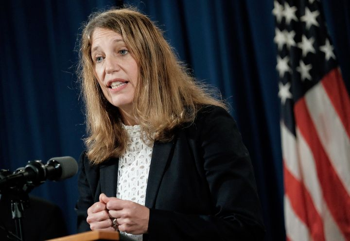 Sylvia Mathews Burwell, secretary of the Department of Health and Human Services, speaks during a press conference at th