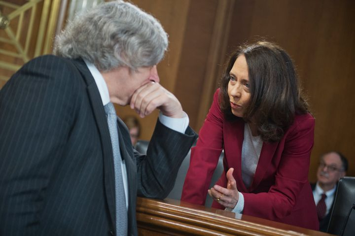 Sen. Maria Cantwell (D-Wash.), right, is the author of climate change legislation introduced Tuesday.