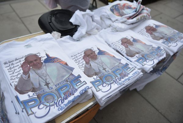 Pope Francis T-shirts are seen for sale on a street corner near the White House on September 22, 2015 in Washington, DC.&nbsp
