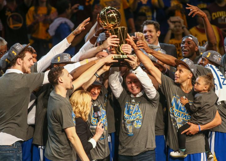 The Golden State Warriors after winning the NBA title.