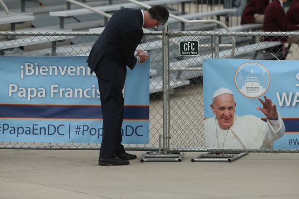 JOINT BASE ANDREWS, MD - SEPTEMBER 22:  Banners celebrating the visit of Pope Francis are hung ahead of his arrival from Cuba