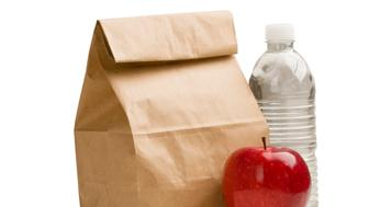 'Brown paper lunch bag, red apple and bottle of drinking water isolated on white background.'
