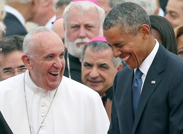 Pope Francis laughs with President Obama