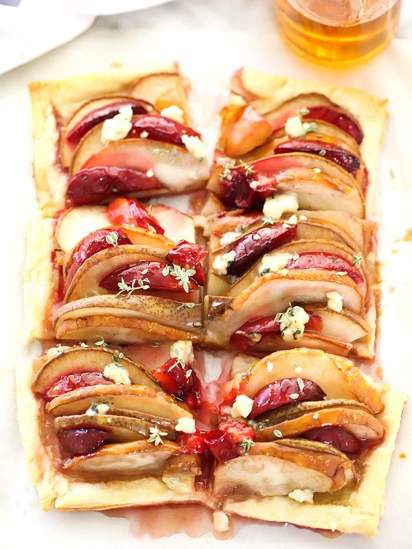 """<strong>Get the <a href=""""http://www.foodiecrush.com/pear-and-plum-puff-pastry-tart-with-blue-cheese/"""" target=""""_blank"""">Pear an"""