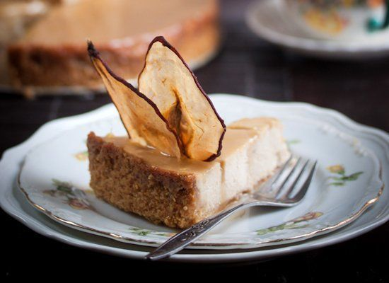 """<strong>Get the <a href=""""http://www.manifestvegan.com/2012/10/pear-and-ginger-ricotta-cheesecake-with-salted-caramel-drizzle/"""
