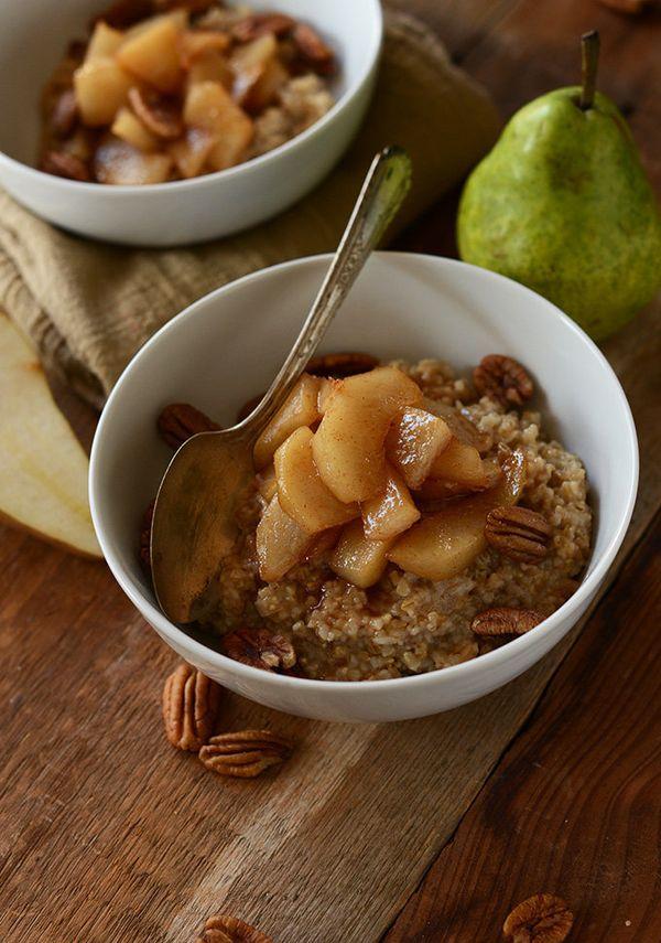 "<strong>Get the <a href=""http://minimalistbaker.com/brown-sugar-pear-steel-cut-oats/"" target=""_blank"">Brown Sugar Pear Steel"