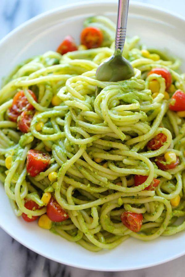 """<strong>Get the<a href=""""http://damndelicious.net/2014/06/20/avocado-pasta/"""">Avocado Pasta recipe</a>from Damn Del"""