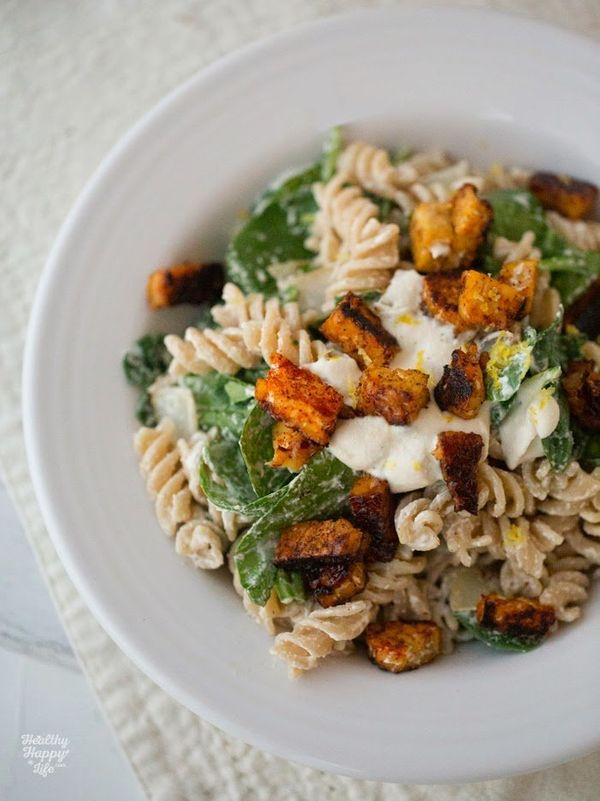 """<strong>Get the<a href=""""http://kblog.lunchboxbunch.com/2015/03/cashew-cream-pasta-with-lemon-spinach.html"""">Cashew Cream"""