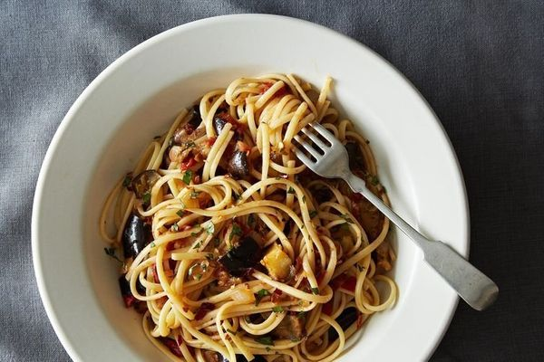 """<strong>Get the<a href=""""http://food52.com/recipes/24001-spicy-eggplant-pasta"""">Spicy Eggplant Pasta recipe</a>from"""