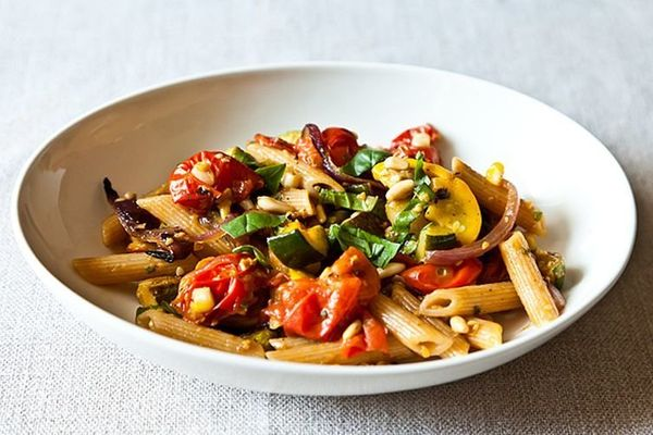 """<strong>Get the<a href=""""http://food52.com/recipes/18440-penne-with-sweet-summer-vegetables-pine-nuts-and-herbs"""">Penne w"""