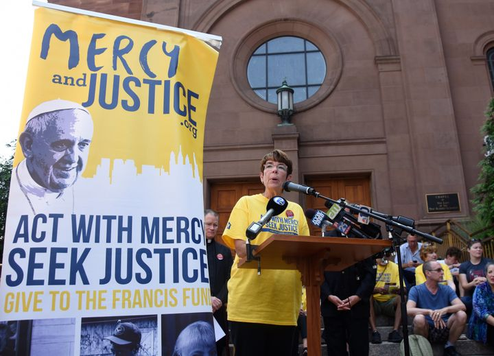 Sister Mary Scullion speaks during an event for the Mercy and Justice initiative in Philadelphia.
