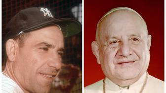 Yogi Berra, right, and Pope John XXIII, left.