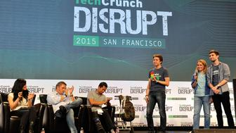 SAN FRANCISCO, CA - SEPTEMBER 21:  The group from Robo Wunderkind presents to the judges during Startup Battlefield on day one of TechCrunch Disrupt SF 2015 at Pier 70 on September 21, 2015 in San Francisco, California.  (Photo by Steve Jennings/Getty Images for TechCrunch)