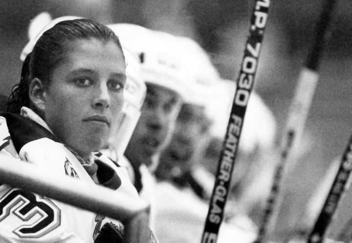 Manon Rhéaume on the bench of her first NHL exhibition game, watching as her team took on the St. Louis Blues on Sept