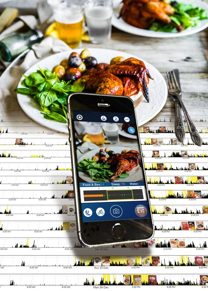 A photo of the MyCircadianClock app alongside a plate of food.