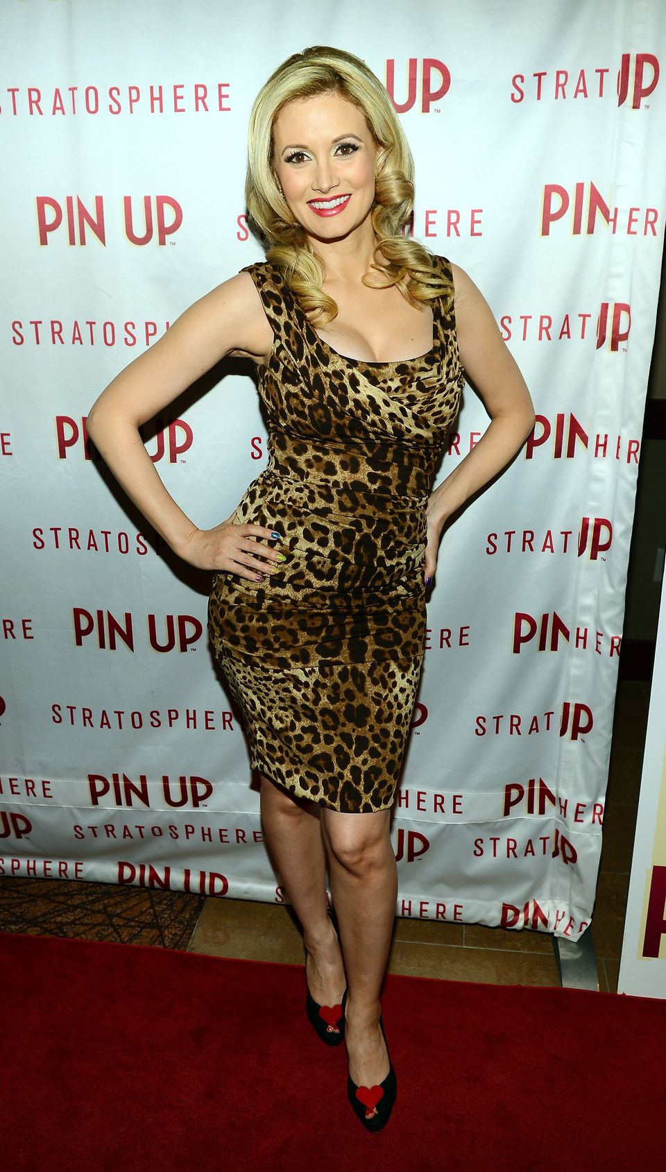 Model and television personality Holly Madison arrives at the premiere of the show 'Pin Up' at the Stratosphere Casino Hotel