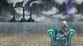 Human skeleton with factory and pouring rain