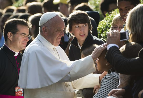 Pope Francis greets well-wishers the Apostolic Nunciature to the United States on September 24, 2015 in Washington, DC.