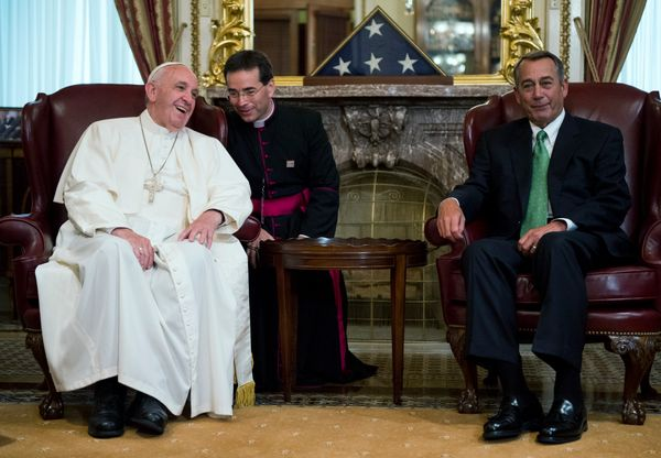 WASHINGTON, DC - SEPTEMBER 24: Speaker of the House John Boehner (R-OH) (R) speaks with Pope Francis (L) in the U.S. Capitol