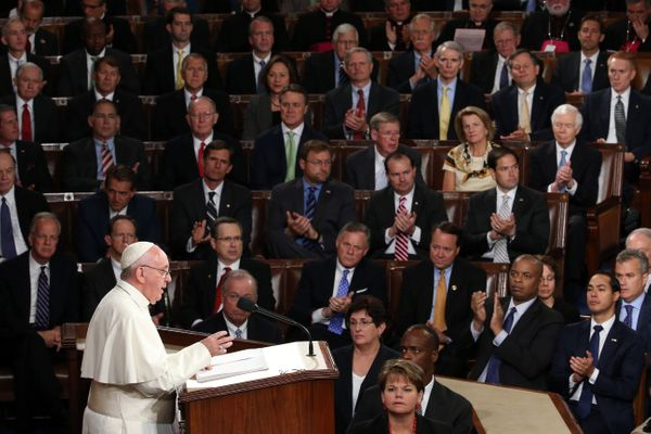 WASHINGTON, DC - SEPTEMBER 24: Pope Francis addresses a joint meeting of the U.S. Congress in the House Chamber of the U.S. C