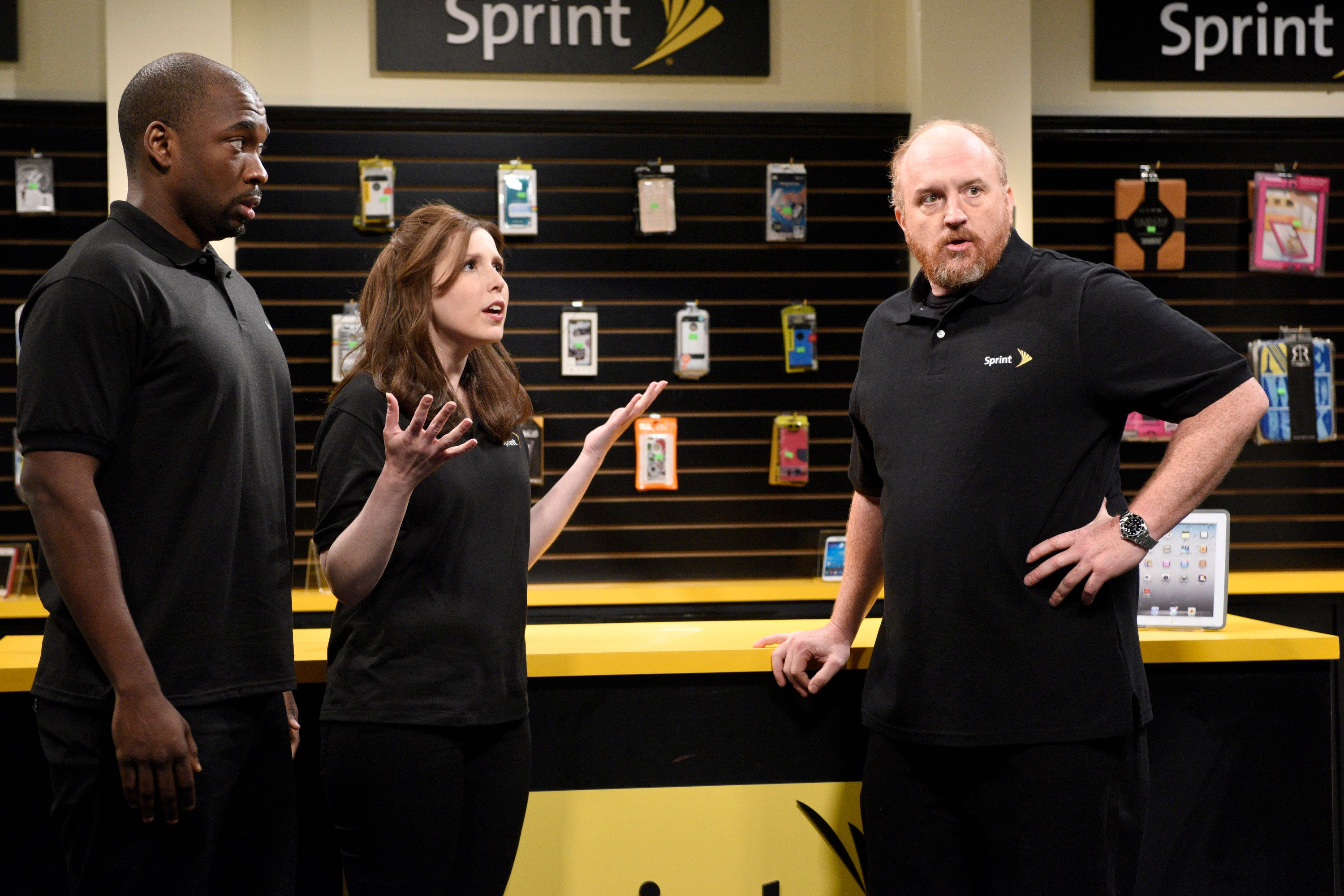 SATURDAY NIGHT LIVE -- 'Louis C.K.' Episode 1683 -- Pictured: (l-r) Jay Pharoah, Vanessa Bayer and Louis C.K. as Donald during the 'This Is How I Talk' skit on May 16, 2015 -- (Photo by: Dana Edelson/NBC/NBCU Photo Bank via Getty Images)