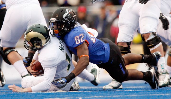Samuel Ukwuachu, No. 82, then of Boise State University, was found guilty of criminal sexual assault after he transferred to