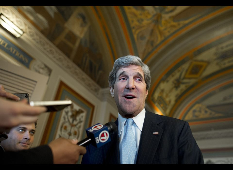 John Kerry leaves a Senate Foreign Relations Committee markup on Jan. 29, 2013 after a vote was held on his confirmation as S