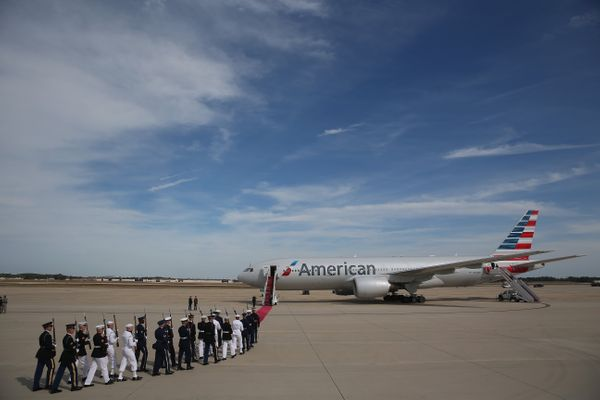 JOINT BASE ANDREWS, MD - SEPTEMBER 24: U.S. servicemembers prepare for the departure of Pope Francis from Washington, DC en r