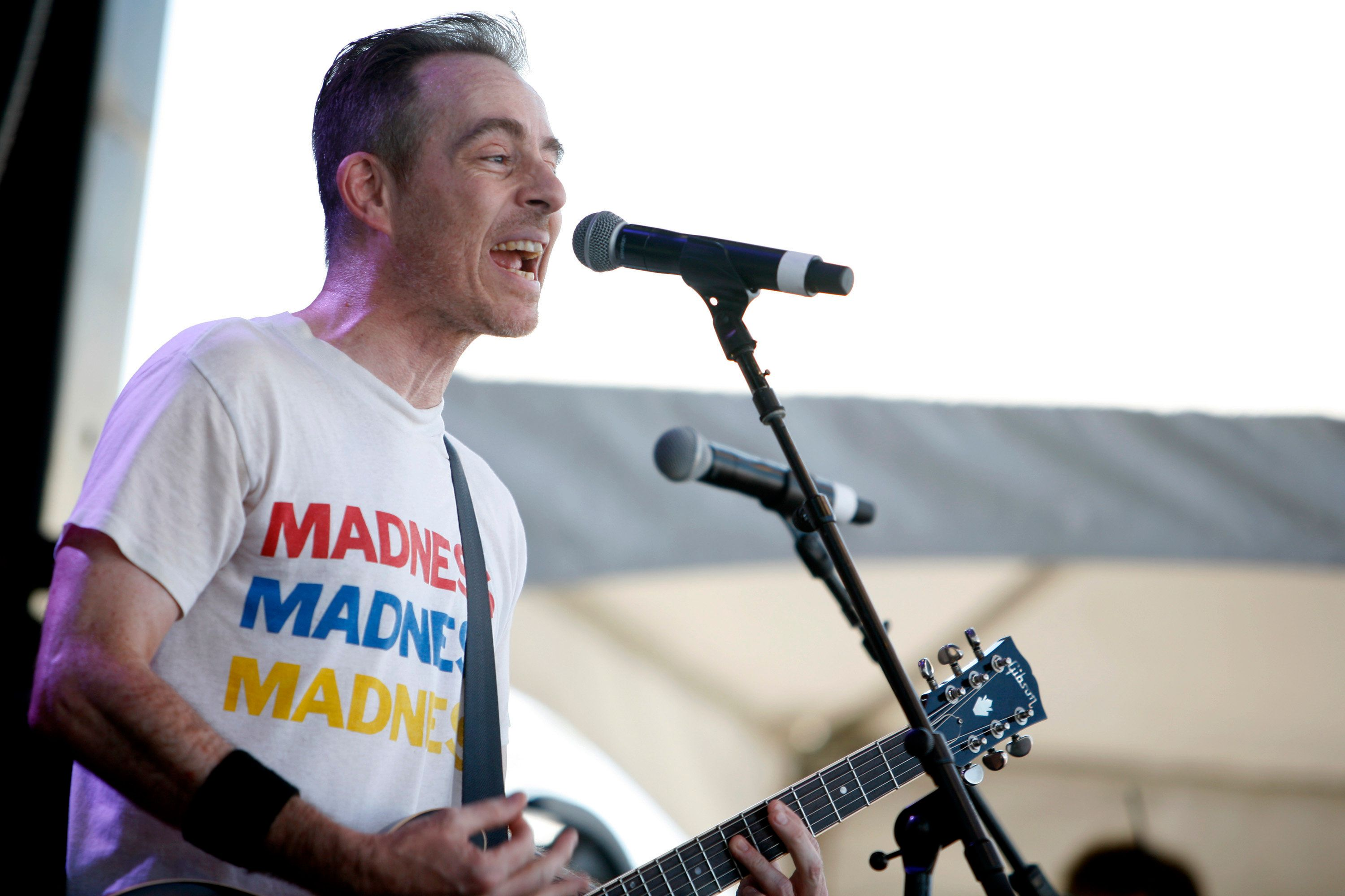 PORTLAND, OR - JULY 19:  Ted Leo of The Both performs during Project Pabst 2015 at Zidell Yards on July 19, 2015 in Portland, Oregon.  (Photo by Jackie Butler/WireImage)