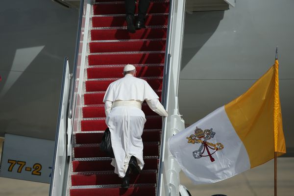 JOINT BASE ANDREWS, MD - SEPTEMBER 24: Pope Francis departs from Washington, DC en route to New York City on September 24, 20