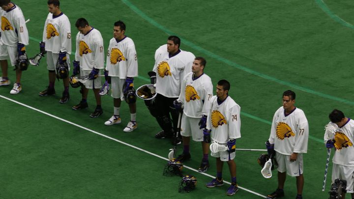 The Iroquois Nationals line up for the national anthems before their match against the US.