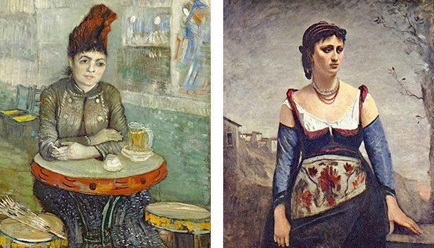 "Left: Vincent van Gogh, ""Agostina Segatori Sitting in the Café du Tambourin,""<a href=""https://en.wikipedia.org/w"