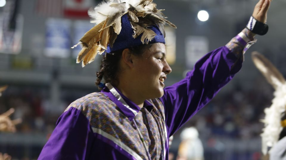 Haudenosaunee dancer at the opening ceremony.
