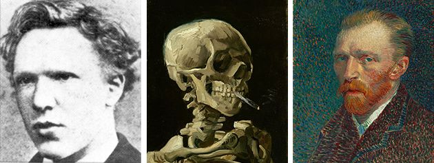 "<span class='image-component__caption' itemprop=""caption"">Left: <a href=""https://en.wikipedia.org/wiki/Vincent_van_Gogh#/media/File:VincentVanGoghFoto.jpg"">1873</a>. Center: Vincent van Gogh, ""Skull of a Skeleton with Burning Cigarette,"" <a href=""https://en.wikipedia.org/wiki/Vincent_van_Gogh#/media/File:Vincent_van_Gogh_-_Head_of_a_skeleton_with_a_burning_cigarette_-_Google_Art_Project.jpg"">1885-1886</a>. Right: Vincent van Gogh, ""Self-Portrait,"" <a href=""https://en.wikipedia.org/wiki/Vincent_van_Gogh#/media/File:Vincent_van_Gogh_-_Self-Portrait_-_Google_Art_Project_(454045).jpg"">1887</a>.</span>"