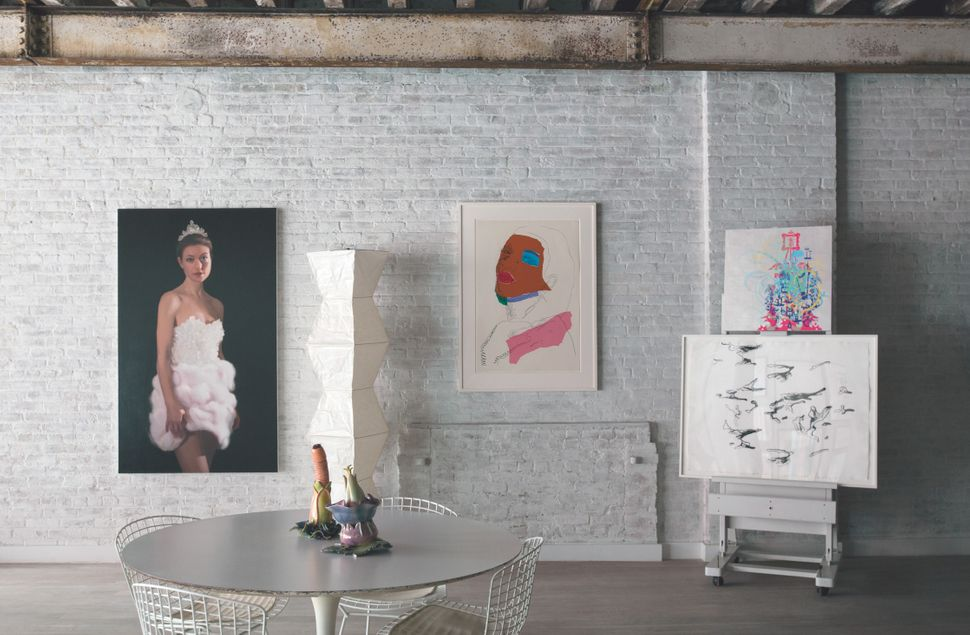 <strong>The home of Will Cotton:</strong>&nbsp;Cotton's 2010 painting of his partner, Rose Dergan, coexists with works by And