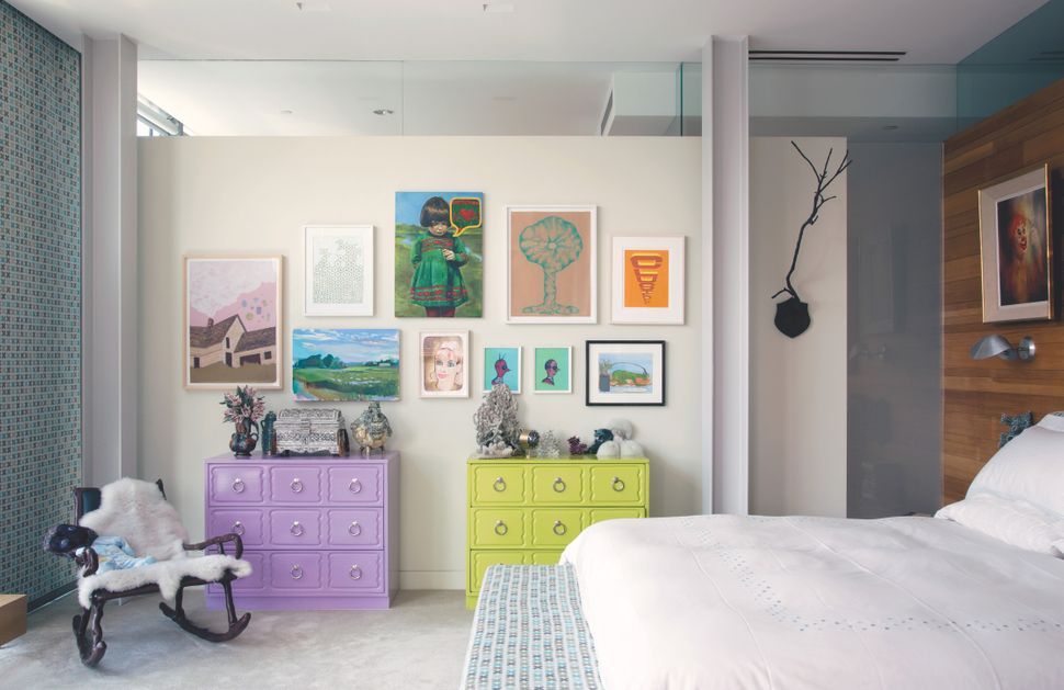 <strong>The home of Cindy Sherman:</strong> Sherman has arranged an assemblage in her bedroom including, from left, a dr