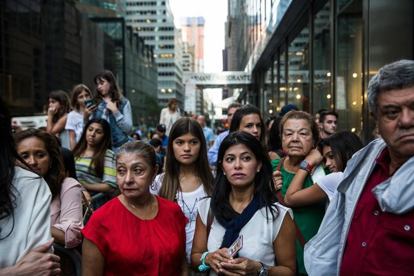 NEW YORK, NY - SEPTEMBER 24: Crowds wait for Pope Francis to arrive on 5th Avenue on September 24, 2015 in New York City.&nbs