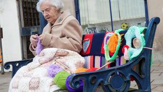 "Grace Brett who is 104 and possibly the countries oldest street artist. Women from Selkirk, Ettrickbridge and Yarrow, in the Scottish Borders who are a team of ""guerrilla knitters"" have decorated local landmarks with crochet and knitted art."