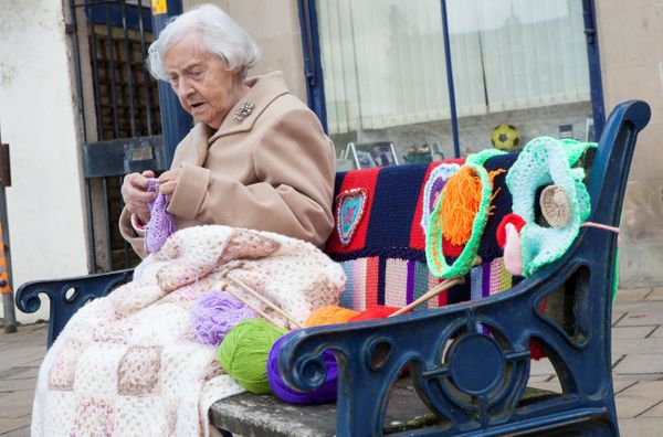 "Grace Brett is 104 and possibly the country's oldest street artist. She and other women in Scotland have formed a team of ""gu"