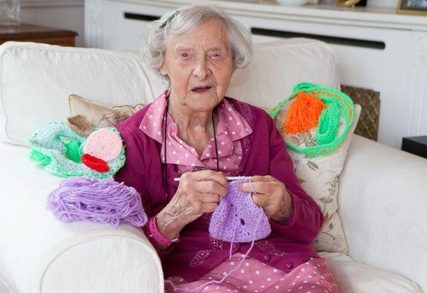 Grace Brett, 104, is working on hercrocheting.