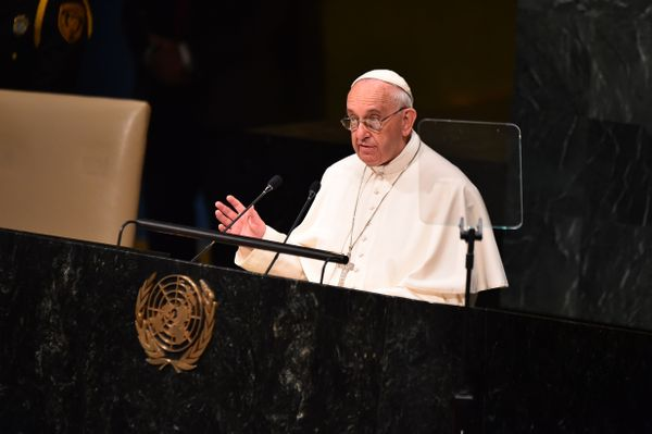 Pope Francis speaks at the UN General Assembly on September 25, 2015 at the United Nations in New York.