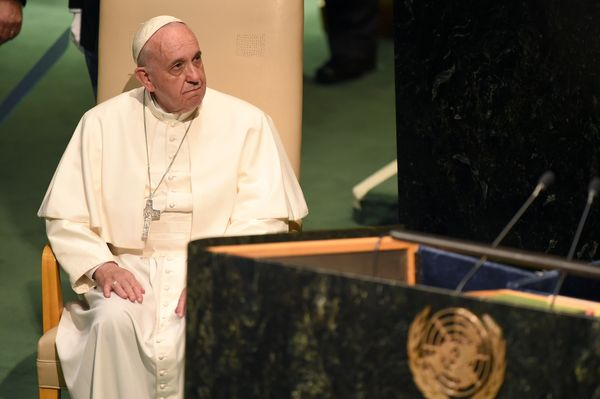 NEW YORK, NY - SEPTEMBER 25: Pope Francis addresses the United Nations General Assembly at the United Nations General Assembl