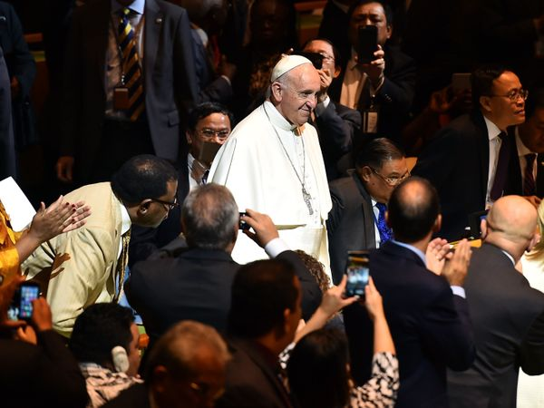Pope Francis arrives to speak at the UN General Assembly on September 25, 2015 at the United Nations in New York.