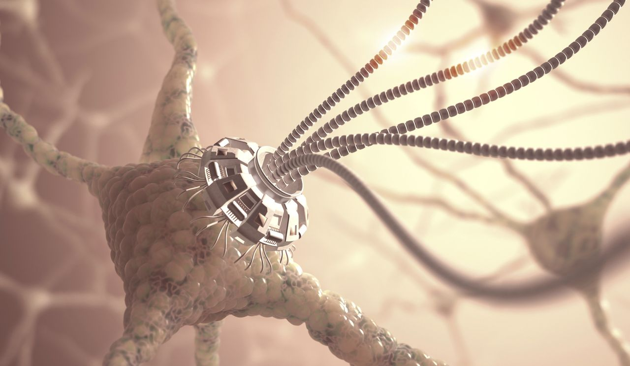 An artistic rendering of a neural network with an artificial connection in a nanotechnology concept.