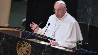 NEW YORK, NY - SEPTEMBER 25:  Pope Francis addresses The United Nations General Assembly on September 25, 2015 in New York City.  (Photo by Mike Coppola/FilmMagic)