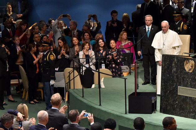 Pope Francis addresses the United Nations General Assembly on Sept. 25, 2015 in New York City, telling...