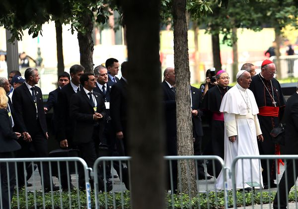 NEW YORK, NY - SEPTEMBER 25: Pope Francis enters Ground Zero on September 25, 2015 in New York City. Pope Francis visited Gro