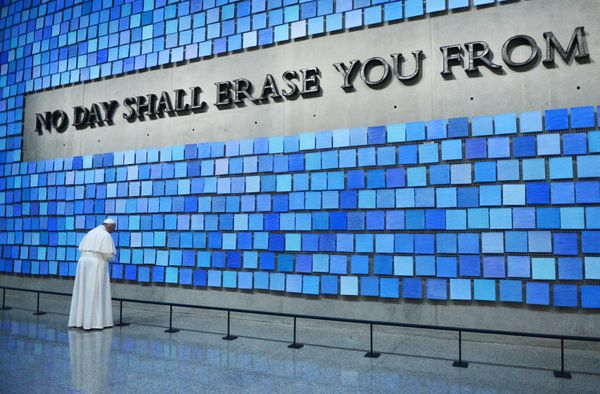 NEW YORK, NY - SEPTEMBER 25: Pope Francis visits the 9/11 Memorial & Museum in New York City and prays at 'Trying to Reme